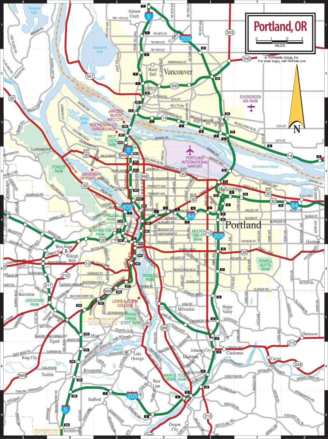 portland karte Karte Portland   Portland kartē (Oregona   ASV)